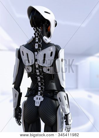 3d Rendering Of A Female Android Robot Standing With Her Back Turned Against The Camera. Futuristic