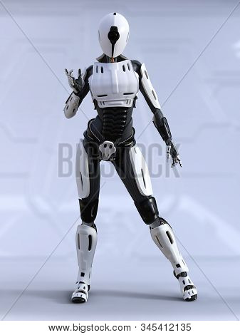 3d Rendering Of A Female Android Robot Standing And Posing. Futuristic Ai Concept.
