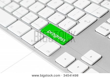 Computer keyboard with green