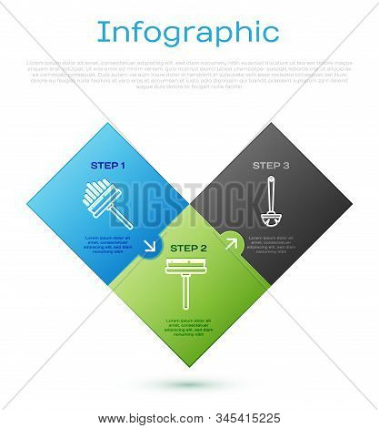 Set Line Squeegee, Scraper, Wiper, Toilet Brush And Squeegee, Scraper, Wiper. Business Infographic T