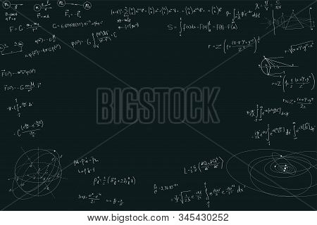 Physical Formulas With Copy Space In The Center. Mathematics And Physics, Scientific Concepts. Formu