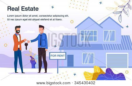 House Rent Service Trendy Flat Vector Advertising Banner, Promo Poster Template. Real Estate Propert