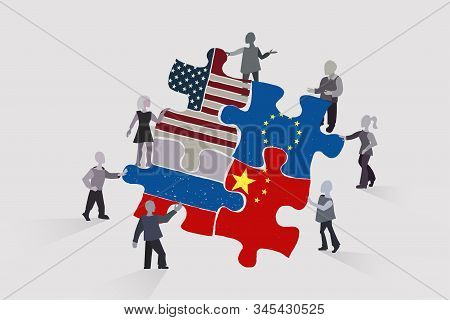 International Cooperation, Multicultural Team Collects A Puzzle From The Flags Of The United States,