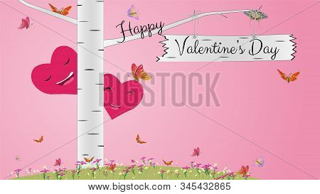 Greeting Card For Valentine's Day With Birch, Flowers, Butterflies And Hearts In Pink. Two Smiling H