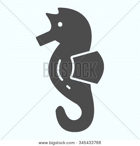 Sea Horse Solid Icon. Sea Animal Hippocampus Illustration Isolated On White. Hippocampus Glyph Style