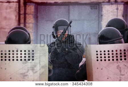 Barnaul, Russia-january 15, 2020. National Guard Soldiers Train To Suppress Riots