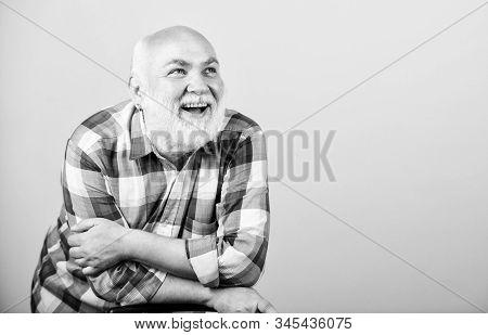 Bearded Senior Hipster Positive Emotion Face Expression. Having Fun. Retirement Leisure. Man Senior