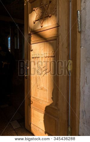 Kutaisi, Georgia, October 13, 2019 : Open Door Of The Main Entrance To The Old Synagogue On The Bori