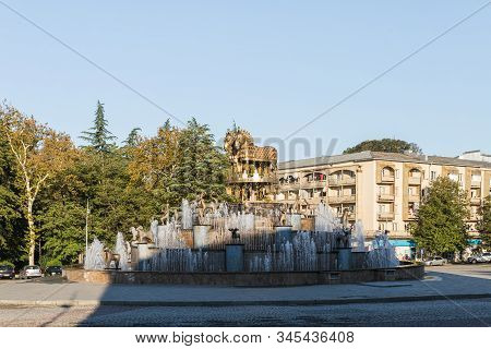 Kutaisi, Georgia, October 13, 2019 : The Colchis Fountain On The Central Square With In The Old Part