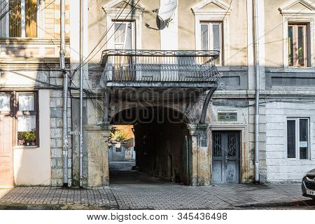 Kutaisi, Georgia, October 13, 2019 : The Old Building With Balcony On The Gelati Street In The Old P