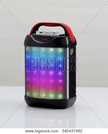Wireless Speaker With Colorful Lights Isolated On White Background