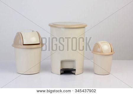 3 Size Of Trash Bins Isolated On White Background