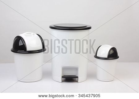 3 Size Of White Trash Bins Isolated On White Background