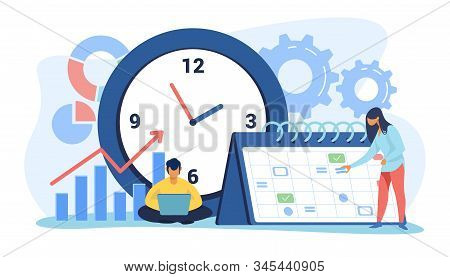 Timing And Project Scheduling. Managers Working Near Calendar With Marks And Clock Flat Vector Illus