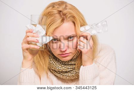 Girl Take Medicine Drink Water. Headache And Cold Remedies. Flu And Cold Concept. Woman Tousled Hair