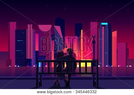 Mexico City Night Life Cartoon . Couple Sitting On Bench At City Embankment, Man And Woman Enjoying