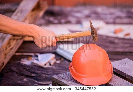 Protective Helmet. Material Strength. Building Construction. Professional Hard Hat. Engineer Archite