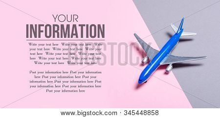 Model Airplane On Gray Pink Background, Top View, Space For Text