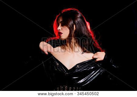 Modeling Career. Fashion Model Black Background. Sensual Look Of Makeup Model. Beauty Model With Lon