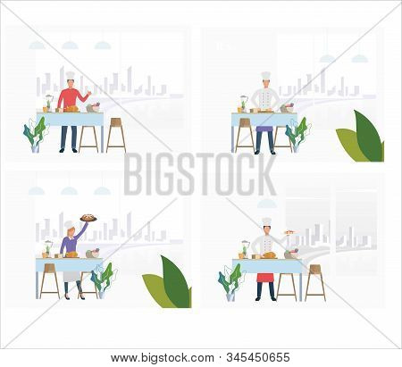 Set Of Chefs Preparing Meals For Clients. Flat Vector Illustrations Of Catering Service Professional