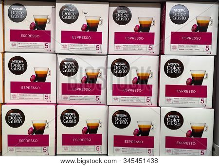 Boxes With Coffee Capsules For Nescafe Dolce Gusto Coffee Machines On Shelf For Sale At Ashan Shoppi