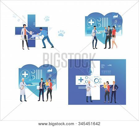 Set Of Family Taking Care Of Pets And Children. Flat Vector Illustrations Of People Having Appointme