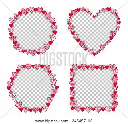 Valentine Hearts Frame Transparent Inside. Round, Square, Hexagon Shape. Valentines Day, February 14
