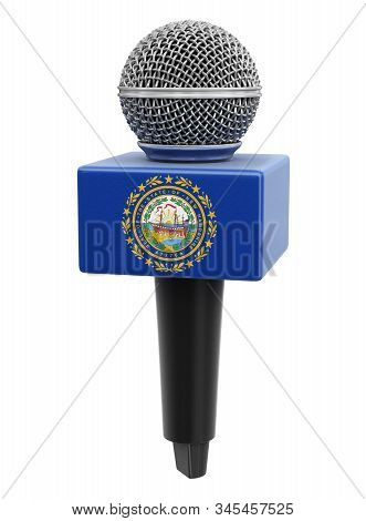 3d Illustration. Microphone And New Hampshire Flag. Image With Clipping Path