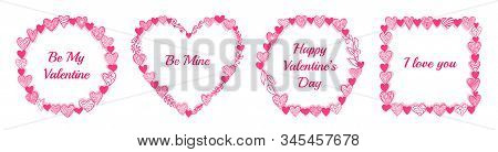Valentine Frame With Openwork Heart And Floral Signs. Round, Square, Hexagon Shape. Valentines Day,