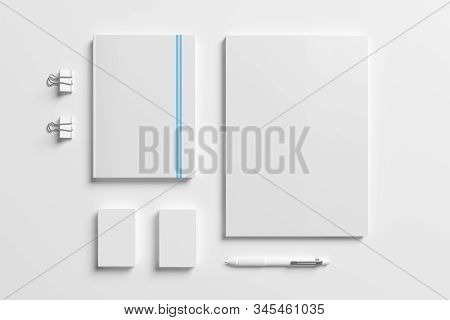 Blank Identity Stationery Set Isolated On White. Mockup Concept For Graphic Designers Presentations