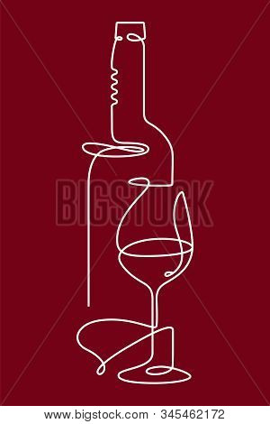 Vertical Single Outline Drawing With A Bottle, Wine Glass, And A Corkscrew. Continuous Line On A Dar