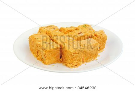 Delicious Soan papdi in a plate