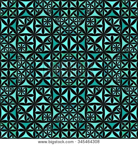 Turquoise Seamless Kaleidoscope Pattern Background Design - Abstract Tribal Vector Wallpaper Graphic