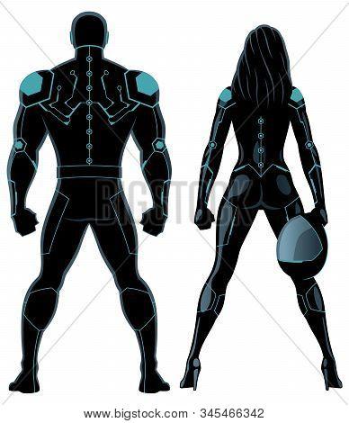 Futuristic Superhero Couple Isolated Over White Background.