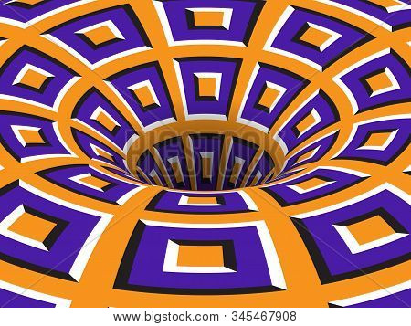 Rotating Hole Of Moving Purple Orange Squares Ornament. Vector Optical Illusion Background.