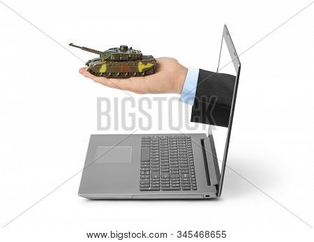 Hand with panzer and notebook isolated on white background