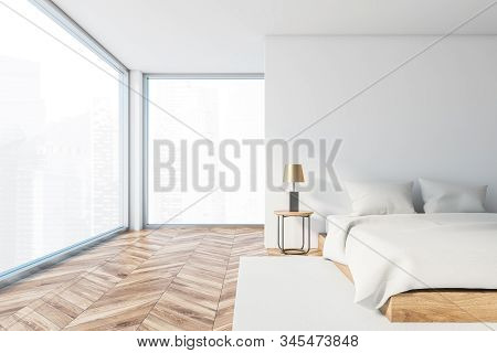 Front View Of Panoramic Master Bedroom With White Walls, Wooden Floor, Comfortable King Size Bed And