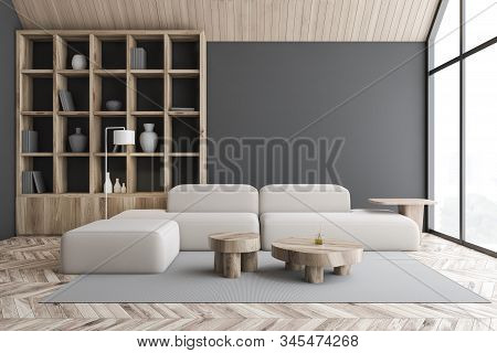 Gray Attic Living Room And Library