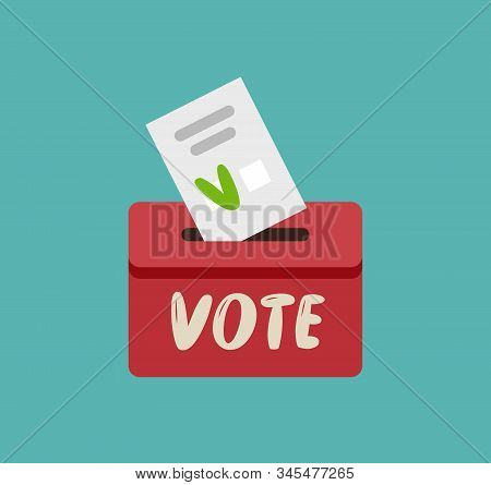Putting Voting Paper In Ballot Box. Vote, Elections Vector