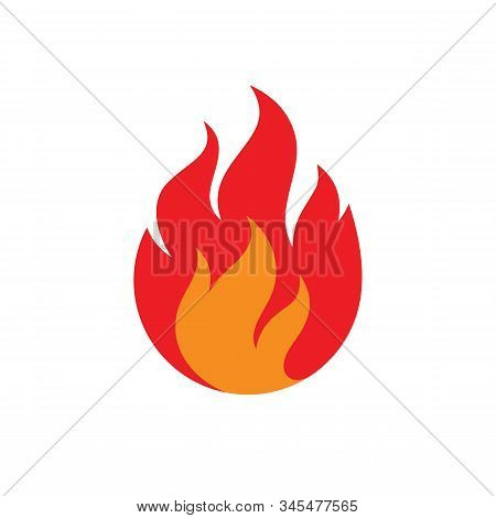 Fire Flame Concept Icon Flat Design, Red Fire Icon Sign On White Background. Anstract Fire Flammable