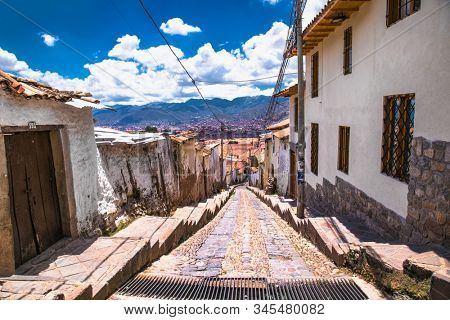 Cusco , Peru- Jan 9, 2019: Unidentified people on the street of Cusco, Peru. Entire city of Cusco was designated a UNESCO World Heritage Site in 1983.