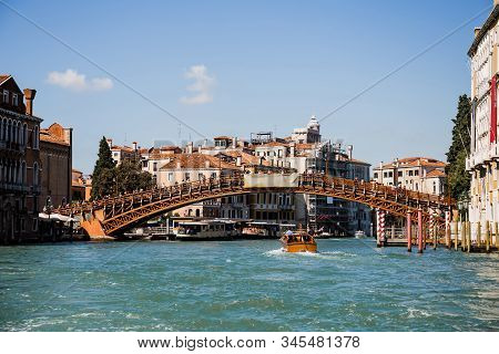 Venice, Italy - September 24, 2019: Vaporetto Floating Under Accademia Bridge In Venice, Italy