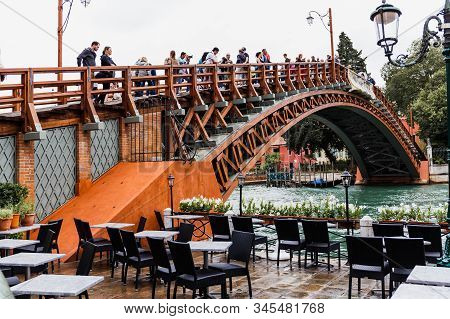 Venice, Italy - September 24, 2019: People Looking At Canal From Accademia Bridge In Venice, Italy