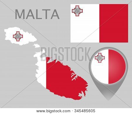 Colorful Flag, Map Pointer And Map Of Malta In The Colors Of The Maltese Flag. High Detail. Vector I