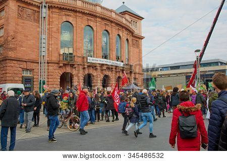 Mainz, Germany - January 17, 2020: People At The Meeting Point In Front Of The Theatre In Mainz For