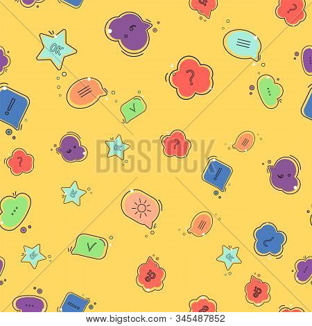 Chat Comment. Speech Bubbles With Different Symbols. Vector Illustration Seamless Pattern Background