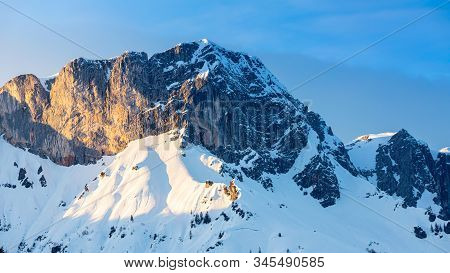 Beautiful View Of Famous Watzmann Mountain Peak On A Cold Day In Winter