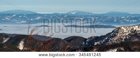 Moravskoslezske Beskydy Mountain Range With Highest Lysa Hora Hill On The Middle From Horna Luka Hil