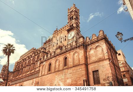Landmark Of Palermo, The 18th Century Palermo Cathedral With Clock Tower, Sicily. Unesco World Herit