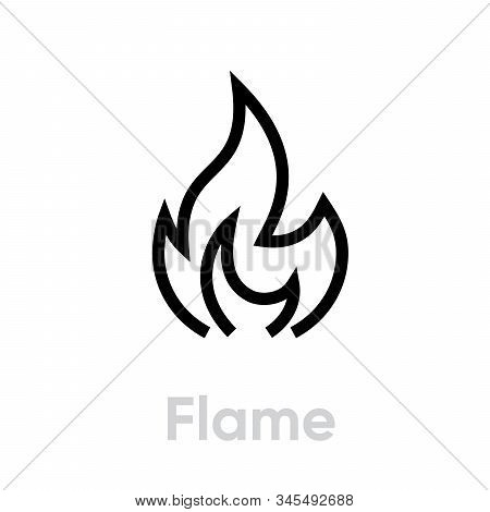 Flame And Fire Vector Icon. Editable Line Illustration